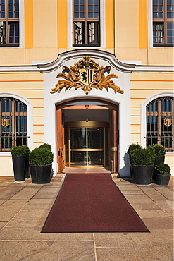 Entrance to Dresden Cloth Hall, build from 1768 to 1770 from Johann Georg Schmid and Johann Friedrich Knobel, since 1967 hotel, Dresden, Saxony, Germany, Europe
