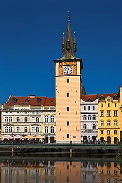 Old water tower on the bank of Vltava river, Prague, Hlavni mesto Praha, Czech Republic, Europe