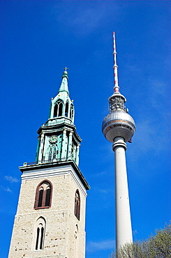 St -Marien-Kirche and Fernsehturm at Alexanderplatz Berlin, Germany