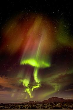 Aurora Borealis or Northern Lights, Iceland Northern lights over the lava landscape, Reykjanes Peninsula, Iceland