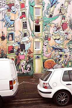Wall painted in street-art cartoon style at Angouleme, capital of the 'comics', Charente, Poitou-Charentes, France