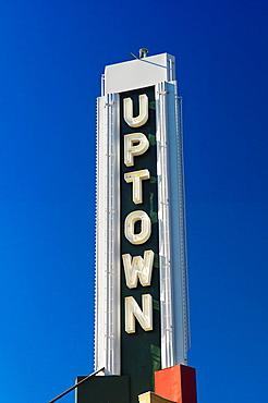 USA, Minnesota, Minneapolis, sign in the trendy Uptown neaighborhood