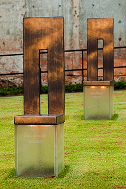 USA, Oklahoma, Oklahoma City, Oklahoma City National Memorial to the victims of the Alfred P  Murrah Federal Building Bombing on April 19, 1995, bronze chair memorials to each of the victims