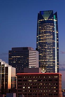 USA, Oklahoma, Oklahoma City, elevated city skyline with Devon Tower, dusk