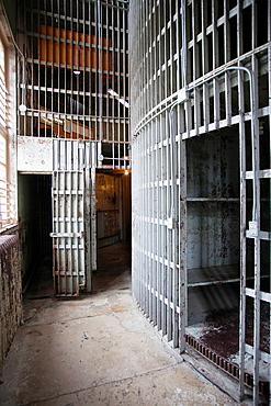 USA, Iowa, Council Bluffs, Historic Pottawattamie County Jail, 1885 Squirrel Cage Jail, 3 story jail in a drum, interior
