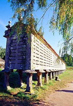 Horreo with 44 legs. Carnota, La Coruna province, Galicia, Spain.