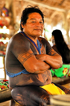 man of Embera native community living by the Chagres River within the Chagres National Park, Republic of Panama, Central America