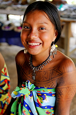 Esilda, young teenager of Embera native community living by the Chagres River within the Chagres National Park, Republic of Panama, Central America
