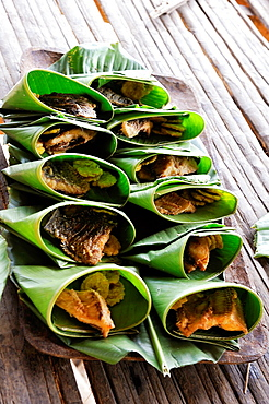 dishes of fish wrapped in leaves, Embera native community living by the Chagres River within the Chagres National Park, Republic of Panama, Central America