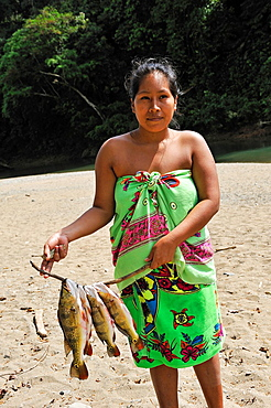 young woman of Embera native community living by the Chagres River within the Chagres National Park, Republic of Panama, Central America
