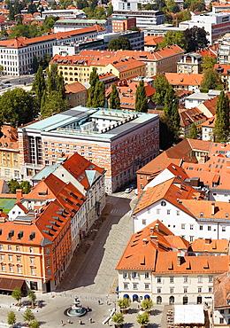 National and University Library, aerial view, Ljubljana, Slovenia