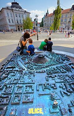 City mock-up at the Preöeren square, Ljubljana, Slovenia