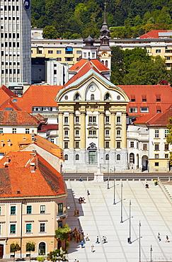 Ursuline Church of Holy Trinity aerial view, Ljubljana, Slovenia