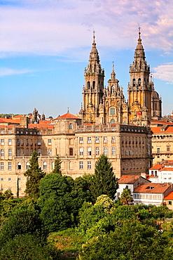 Cathedral from Alameda park, Santiago de Compostela, A Coruna province, Galicia, Spain.