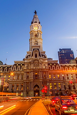 Philadelphia's City Hall at twilightwith traffic on North Broad St