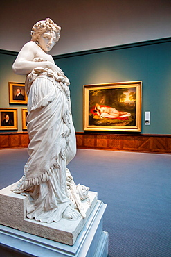 Marble sculpture 'Hypathia' by Howard Roberts 1843-1900 The Samuel F B Morse's Gallery of the Louvre in Pennsylvania Academy of the Fine Arts PAFA