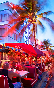 Outdoor restaurants in Ocean Drive at night, Miami Beach, Florida, USA