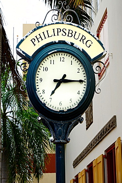 Clock Philipsburg St Martin Maarten Caribbean Island Netherland Antilles
