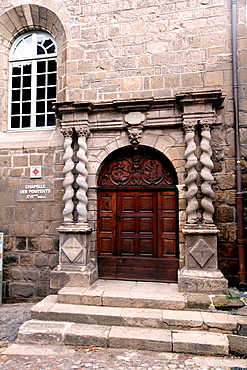 Entrance door to the Chapel of the Penitents in the cathedral, Le Puy-en-Velay, Haute-Loire, Auvergne, France