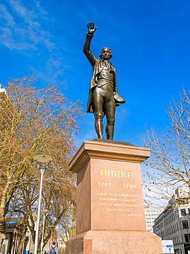 Statue of Edmund Burke Member of Parliament for Bristol in Bristol City centre, England