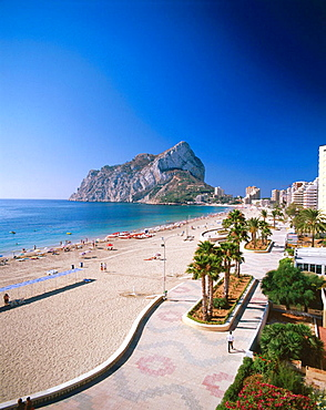 Calpe town, Penon de Ifach (Ifach Rock) in background, Costa Blanca, Alicante province, Spain