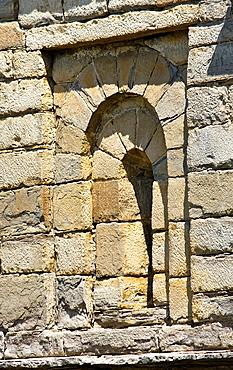 Window in the Mozarabic, Romanesque church San Pedro de Larrede, Serrablo, Alto Gallego, Huesca Province, Aragon, Aragon Pyrenees, Spain, Europe