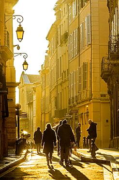 Europe, France, Bouche-du-Rhone, Aix-en-Provence A street at dusk