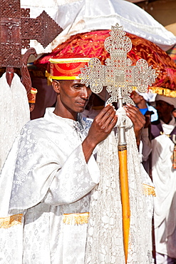 A Street Procession of Church Priests and Deacons During Timkat The Festival of Epiphany, Gondar, Ethiopia