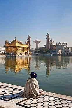 Sikh Pilgrim, The Golden Temple of Amritsar, aka The Harmandir Sahib or Hari Mandir Punjab, India