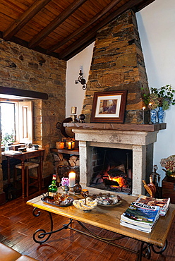 Living-room with fireplace set, at a rural house tourism, Gois-Portugal