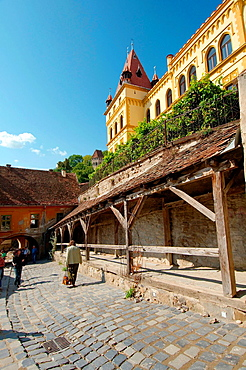 Historic centre with Clock Tower at back, Sighisoara, Transylvania, Romania, Europe