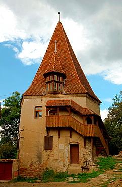 Historic centre with Clock Tower at back, Sighisoara, Transylvania, Romania, Europe