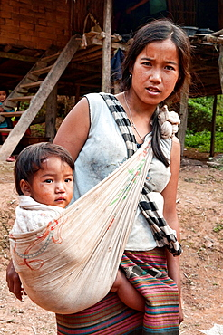 portrait of an ethnic Khmu woman and her baby, Luang Nam Tha, Laos