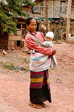 portrait of an ethnic Khmu grandmother and child, Luang Nam Tha, Laos