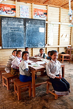 ethnic Khmu classroom in a rural village, Luang Nam Tha, Laos