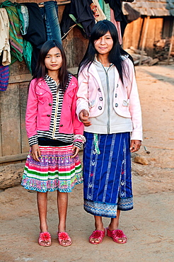 portrait of Akha girls, Phongsaly, Laos