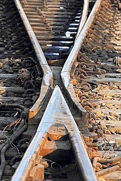 The railway track merging, Set of Points on a Railway Train Track, Pune, Maharashtra, India