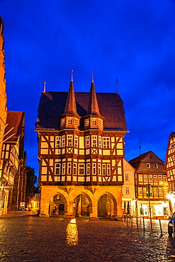The picturesque city hall in Alsfeld on the German Fairy Tale Route at night, Hesse, Germany, Europe