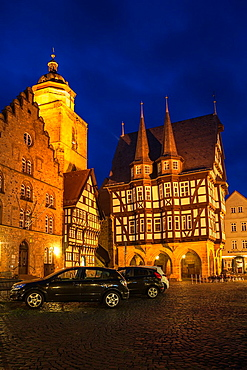 The picturesque city hall and Wine House in Alsfeld on the German Fairy Tale Route at night, Hesse, Germany, Europe