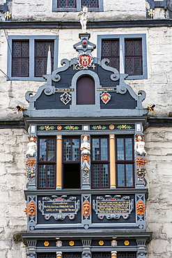 Detail of the city hall in Hannoversch Muenden on the German Fairy Tale Route, Lower Saxony, Germany, Europe