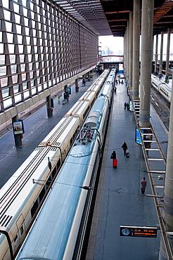 AVE platform. Puerta de Atocha Railway Station, Madrid, Spain.