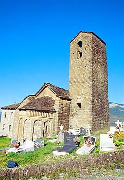 Romanesque church. Olivan, El Serrablo, Huesca province, Aragon, Spain.