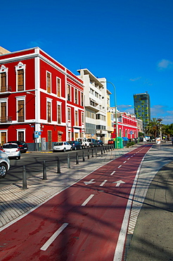 Bicycle path Calle Eduardo Benot street Santa Catalina district Las Palmas de Gran Canaria city Gran Canaria island the Canary Islands Spain Europe