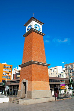 Clock tower outside Mercado del Puerto market hall Santa Catalina district Las Palmas city Gran Canaria island the Canary Islands Spain Europe