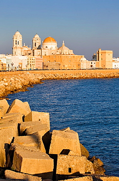 the cathedral and the levee in Campo del Sur Cadiz, Andalusia, Spain