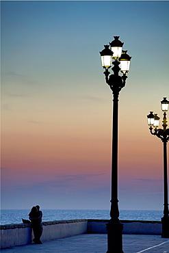 couple in levee of Campo del Sur Cadiz, Andalusia, Spain
