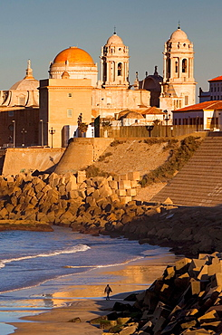 cathedral from Victoria beach Cadiz, Andalusia, Spain