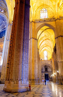 Vaults of central nave, cathedral of Sevilla,Sevilla,Andalucia,Spain