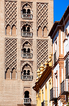Cathedral,detail of Giralda tower,Sevilla,Andalucia,Spain