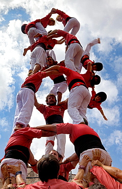 Colla Vella dels Xiquets de Valls Fall of the human tower 'Castellers', a Catalan tradition Doctor Robert street La Bisbal del Penedes Tarragona province, Spain